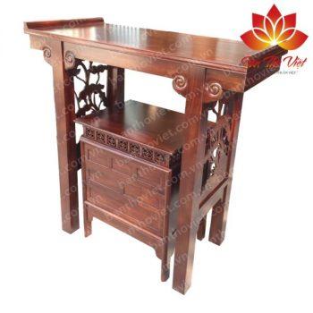 Mẫu tủ thờ ở Thái Bình được trạm khắc họa tiết quen thuộc