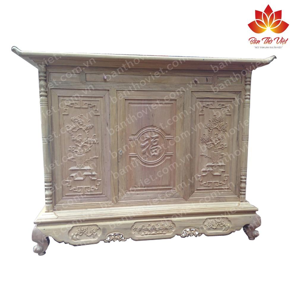 Tủ thờ gỗ dổi chất lượng tốt - màu sắc đẹp - giá thành hợp lí 2
