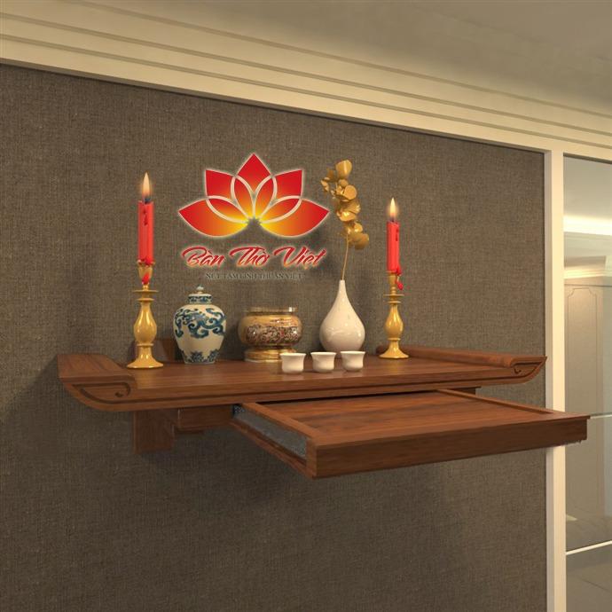 Bàn thờ treo thông minh 2 tầng, mẫu bàn thờ treo Phật