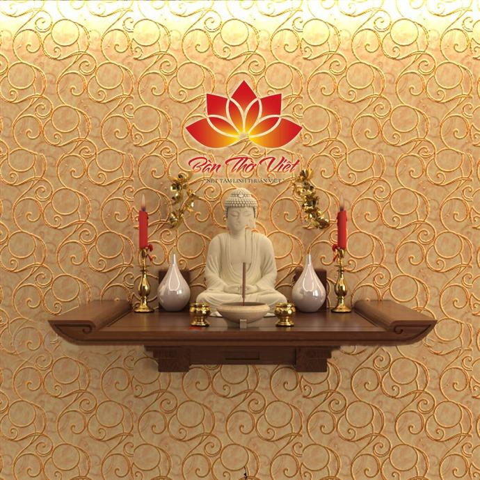 Mẫu bàn thờ treo tường Ninh Bình được thiết kế đơn giản