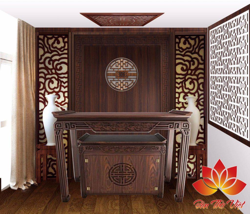 Mẫu tủ thờ ở Thanh Hóa được trạm khắc khá tinh tế