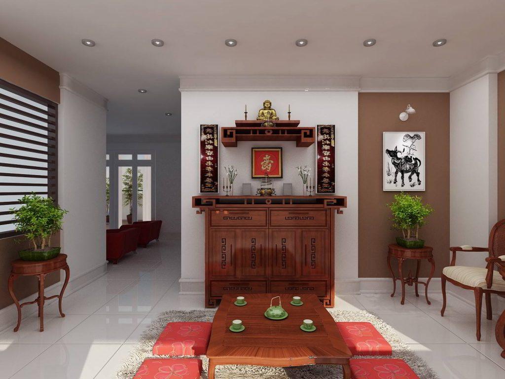 Mẫu thiết kế phòng thờ kết hợp với phòng sinh hoạt chung đẹp