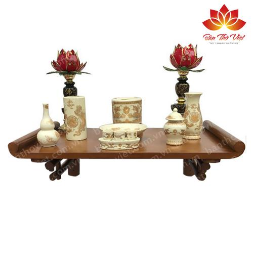 Mẫu bàn thờ treo tường hiện đại thiết kế nhỏ gọn,tinh tế với chất liệu gỗ cao cấp