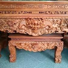 Sập thờ cao cấp bằng gỗ hương chạm Tứ Linh vật thiêng liêng