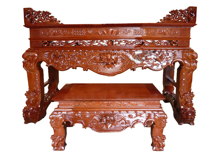 Mẫu sập thờ chân rồng làm bằng gỗ mít được thiết kế độc đáo