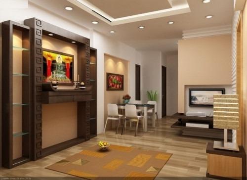 Thiết kế tủ thờ âm tường cho không gian phòng khách đẹp