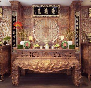 Mẫu sập thờ ở Yên Bái hiện có tại Bàn thờ Việt