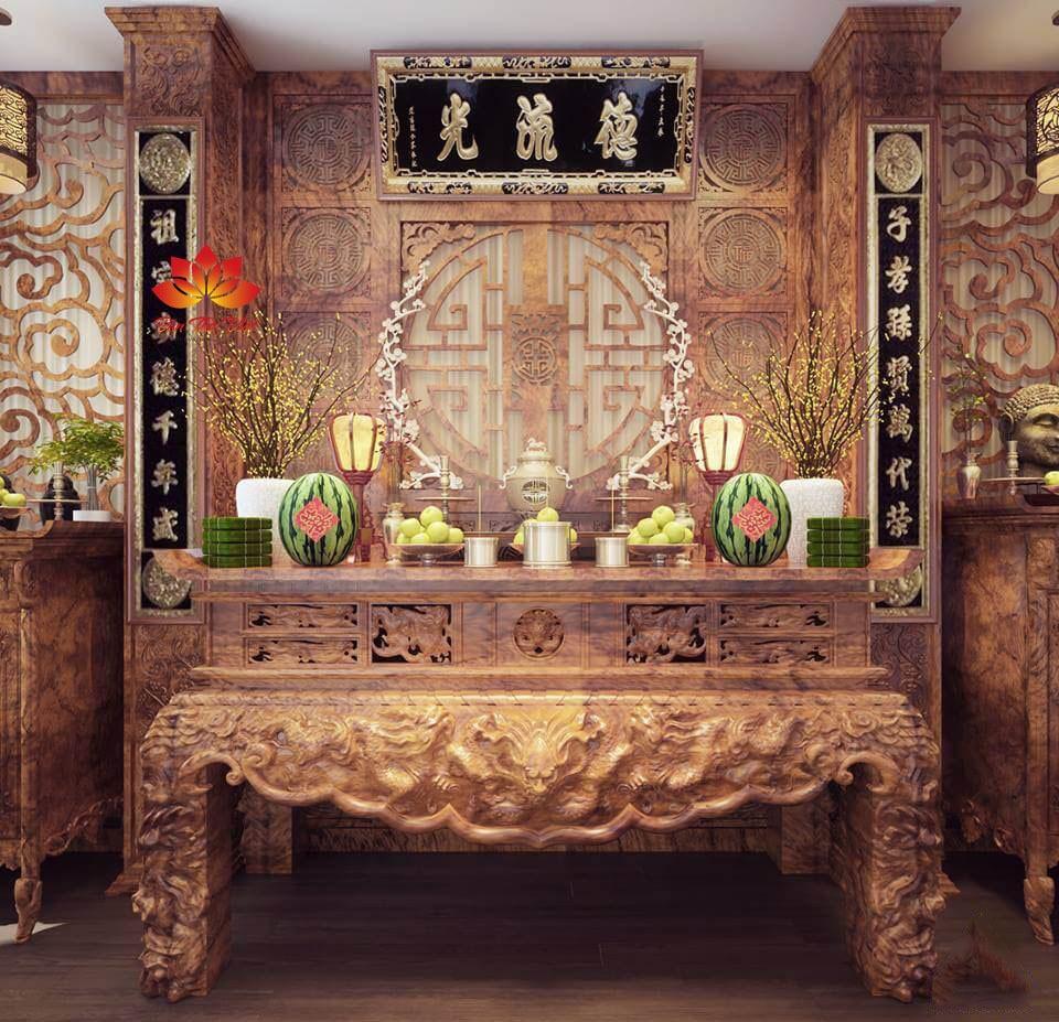 Thiết kế phòng thờ biệt thự theo kiểu truyền thống