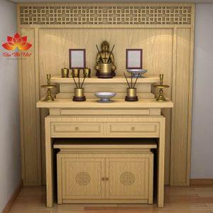 Mẫu tủ thờ ở Yên Bái được làm hoàn toàn bằng gỗ tự nhiên