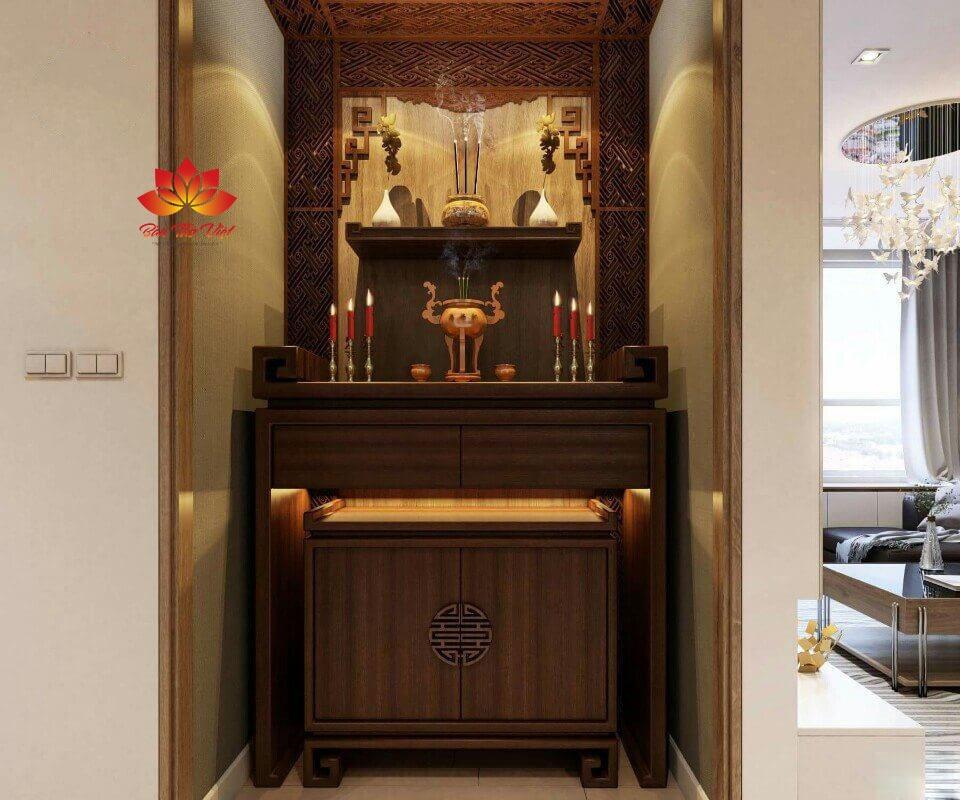 Mẫu tủ thờ ở Vinh được làm bằng gỗ gụ