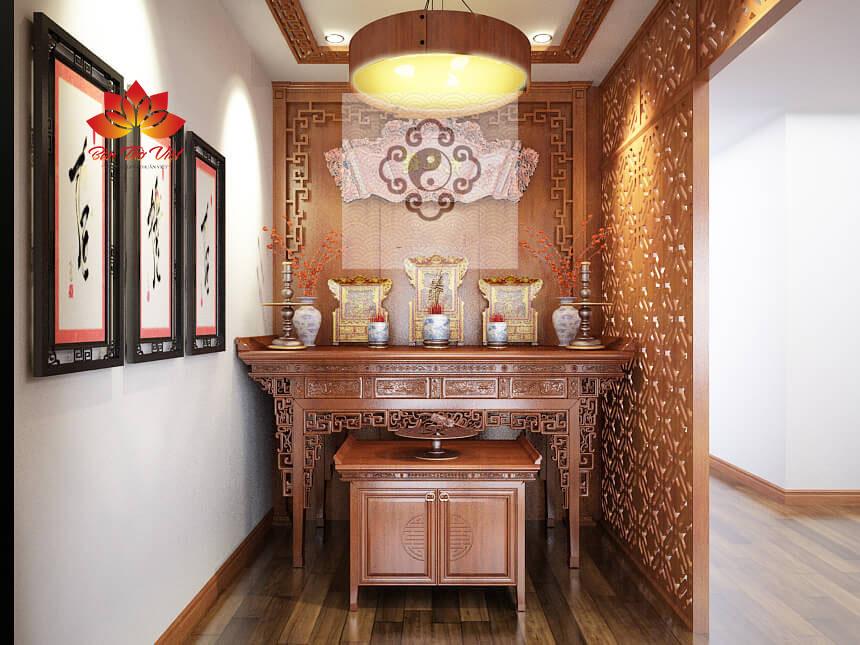 Mẫu tủ thờ ở Điện Biên đẹp được thiết kế chuẩn phong thủy