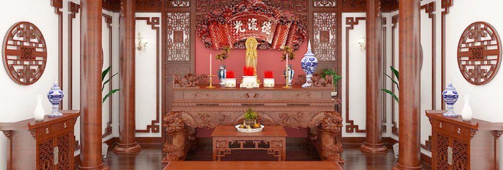 Mẫu bàn thờ ở Yên Bái đẹp được làm hoàn toàn bằng gỗ tự nhiên