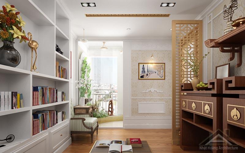 Tuyển tập các mẫu thiết kế phòng thờ kết hợp phòng đọc sách hợp phong thủy