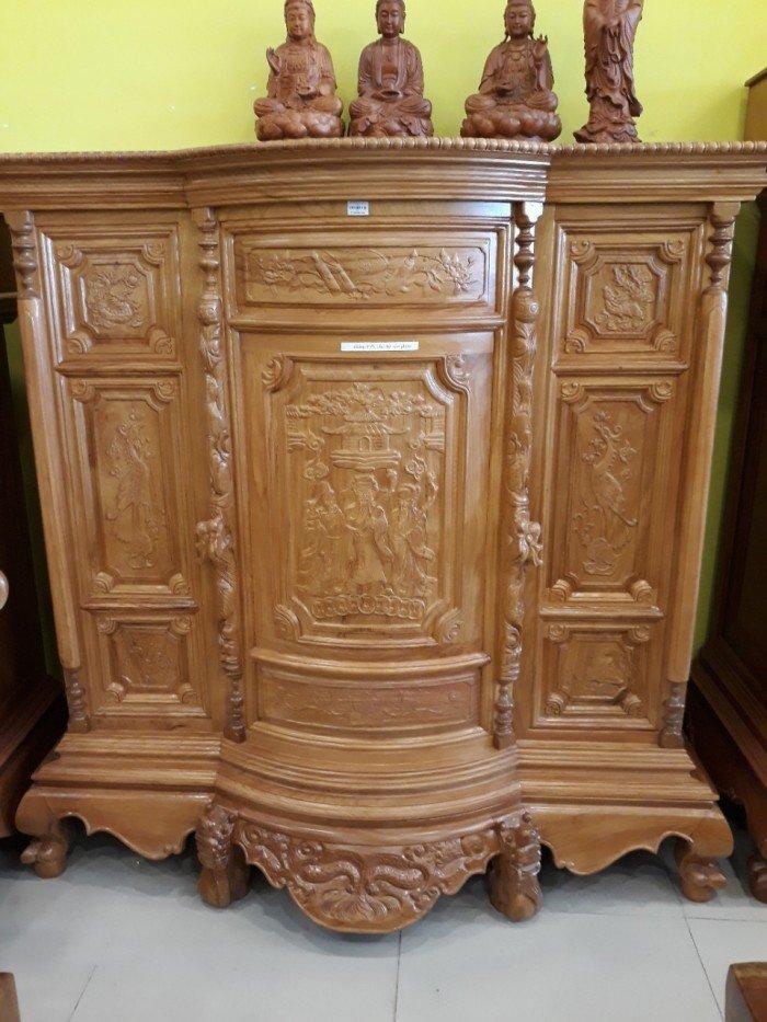 Tủ thờ Phúc Lộc Thọ đẹp được chạm khắc tinh xảo chuẩn phong thủy