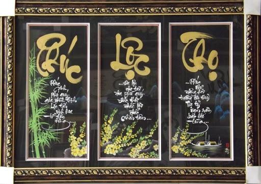 Bộ tranh Phúc – Lộc – Thọ rất phù hợp với không gian phòng thờ