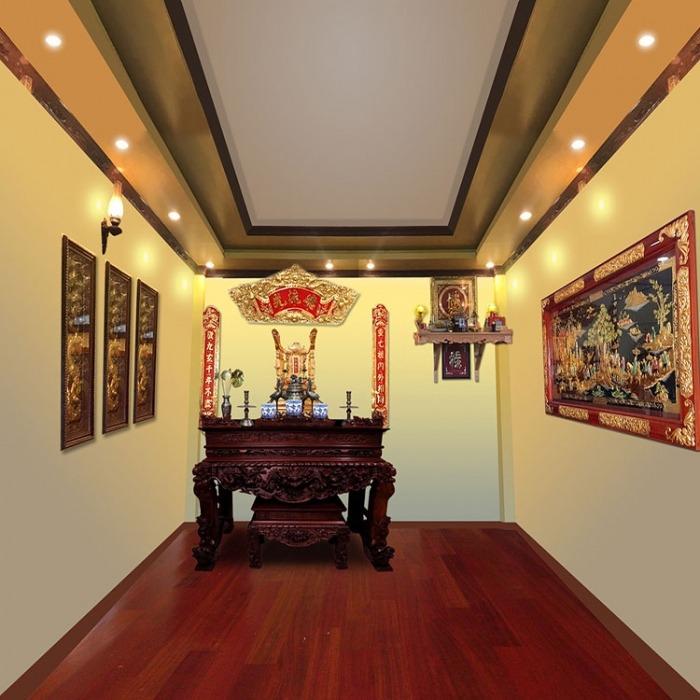 Mẫu bàn thờ kiểu cổ đẹp cho phòng thờ truyền thống trang trọng