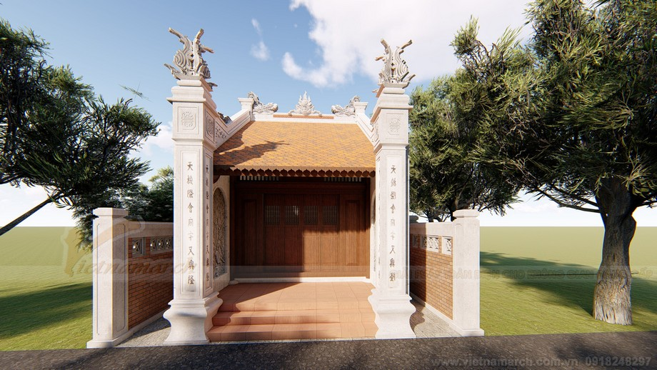 Mẫu thiết kế nhà thờ họ diện tích nhỏ 2 mái