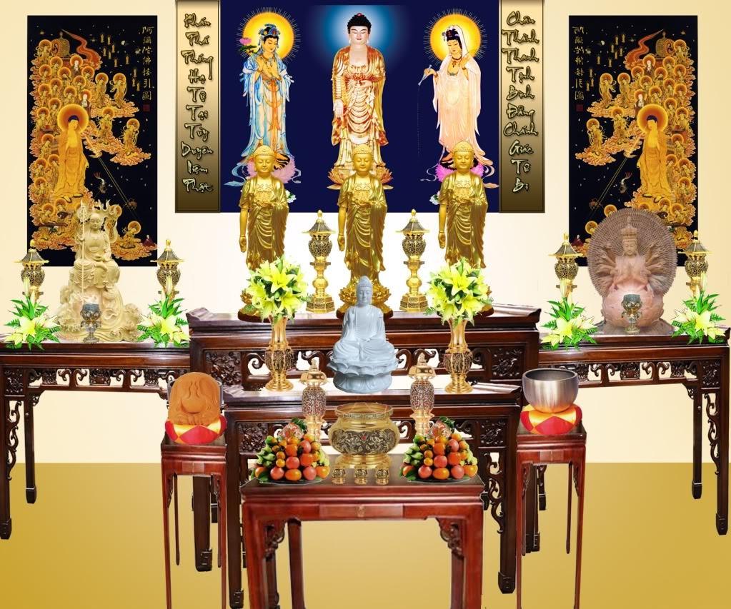 Tranh đính đá treo phòng thờ gắn hình thờ Phật