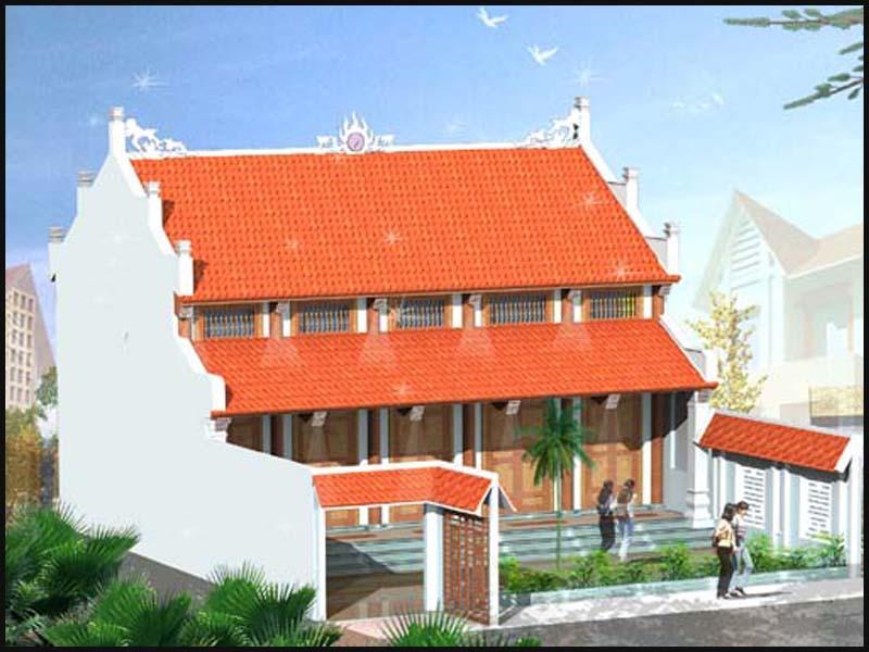 Nhà thờ họ 2 tầng 2 mái được thiết kế kết hợp hiện đại và truyền thống đăng đối