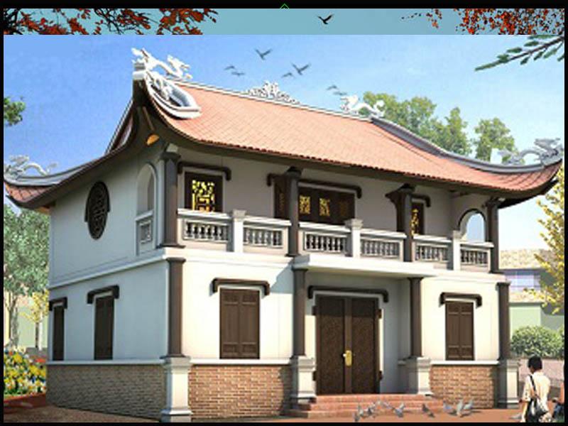 Mẫu nhà thờ họ 2 tầng 2 mái kết hợp diềm mái che hiên tầng 1 được thiết kế đậm dấu ấn hiện đại hơn