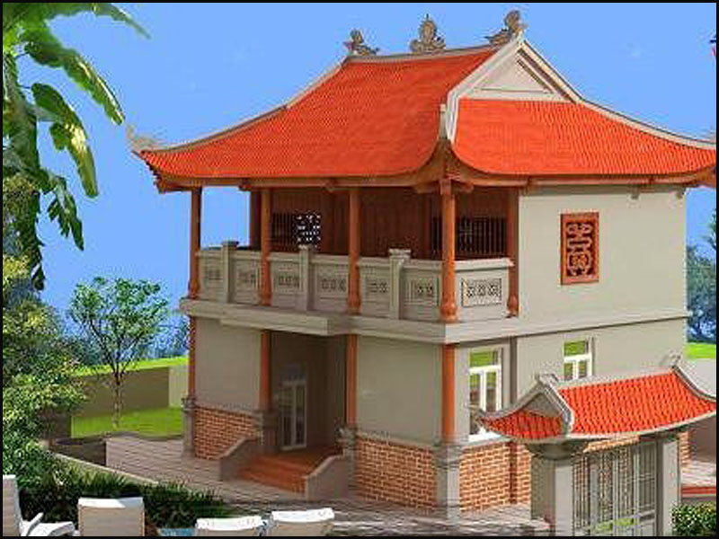 Nhà thờ họ 2 tầng 4 mái kết hợp giữa vẻ đẹp truyền thống của mái và nét hiện đại của vật liệu