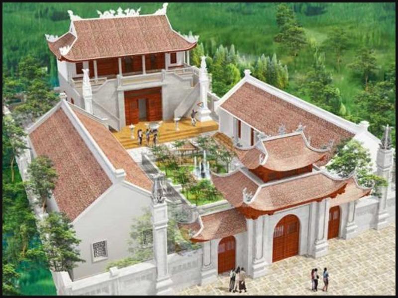 Nhà thờ họ 2 tầng hiện đại bằng bê tông cốt thép, gạch mộc với kết cấu 4 mái cong theo kiểu truyền thống