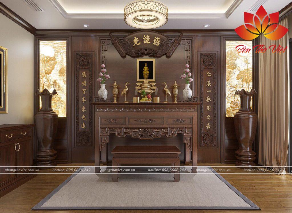 Các mẫu thiết kế nội thất phòng thờ ở Vĩnh Phúc đẹp hợp phong thủy