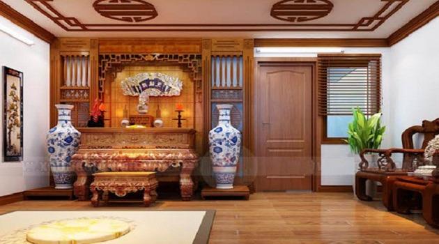 Mẫu thiết kế phòng thờ ở Bắc Ninh đẹp kết hợp với phòng khách