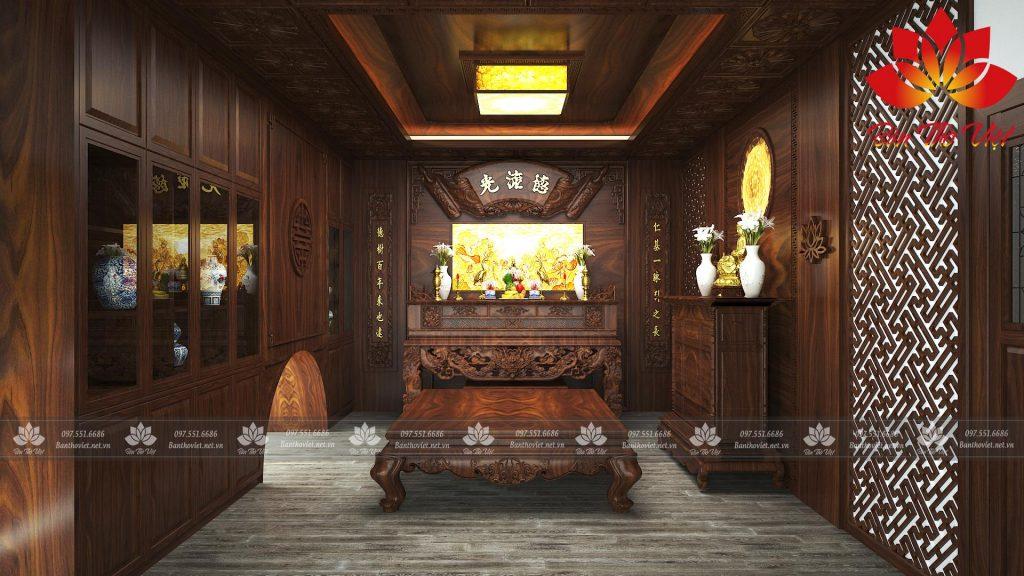Thiết kế phòng thờ ở Sơn La phong cách cổ điển mang đậm tính truyền thống hơn rất nhiều. Ngoài tủ thờ trang nghiêm, những chi tiết phào chỉ trên tường, trần góp phần tôn thêm vẻ đẹp trang trọng.