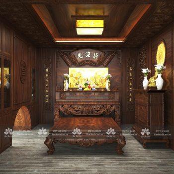 Mẫu phòng thờ ở Hà Nam được chạm khắc tinh xảo