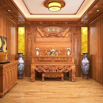 Mẫu phòng thờ ở Hà Nam được thiết kế hoàn toàn bằng gỗ