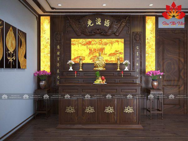 Mẫu phòng thờ khách hàng ở Hà Nam được thiết kế với tông màu sáng làm chủ đạo